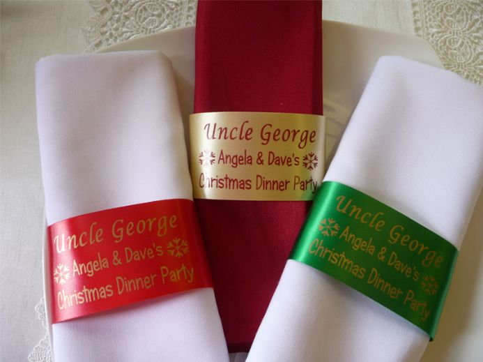 Napkin Ring Personalised Ribbon / Place Setting Name for Christmas or Dinner Party  | Hot Graphix & Signs